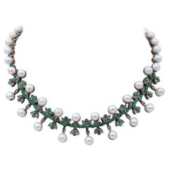 Diamonds, Emeralds, Pearls, 9 Karat Rose Gold and Silver Necklace