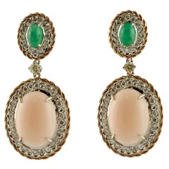 Diamonds, Emeralds, Pink Stone, 14 Karat Rose and White Gold Earrings