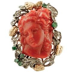 Diamonds, Emeralds, Red Hard Stone, 9 Karat Rose Gold and Silver Retrò Ring