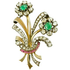 Diamonds, Emeralds, Rubies, 18 Karat Gold and Silver Retro Brooch