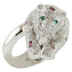 Diamonds, Emeralds, Rubies, 18 Karat White Gold Bear Ring