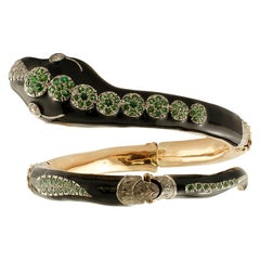 Diamonds,Tsavorite,9k Yellow Gold ,Silver & Enamel , Vintage Snake Bracelet