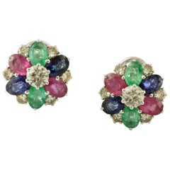 Diamonds, Emeralds, Rubies, Blue Sapphires, 14 Karat White Gold Stud Earrings