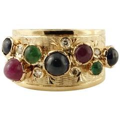 Diamonds, Emeralds, Rubies, Blue Sapphires, 14 Karat Yellow Gold Vintage Ring