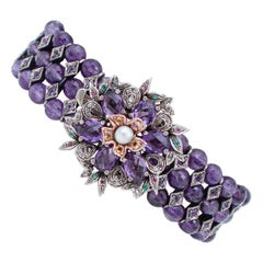 Diamonds Emeralds Rubies Hydro Amethysts Stones Pearl Gold and Silver Bracelet