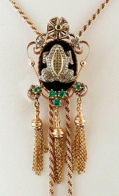 Diamonds, Emeralds, Rubies, Onyx, 9 Karat Rose Gold and Silver Drop Necklace