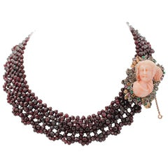 Diamonds, Emeralds Rubies Sapphires Garnets, Coral, 9kt Gold and Silver Necklace