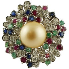 Diamonds, Emeralds, Rubies, Sapphires, Pearl 14 Karat White Gold Ring