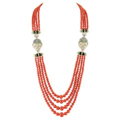 Diamonds, Emeralds, Sapphires, Italian Coral, Onyx, 14 Karat White Gold Necklace