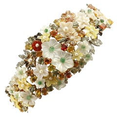 Diamonds Emeralds Sapphires Mother-of-Pearl Carnelian Little Pearls Bracelet
