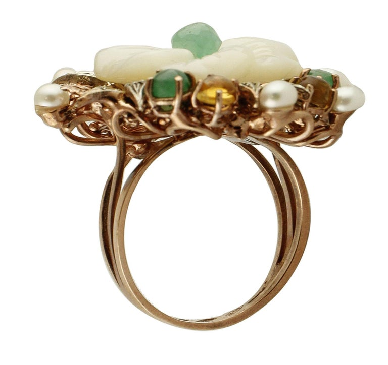 Diamonds Emeralds Sapphires Pearls Mother of Pearl Rose Gold and Silver Ring In Good Condition For Sale In Marcianise, Caserta