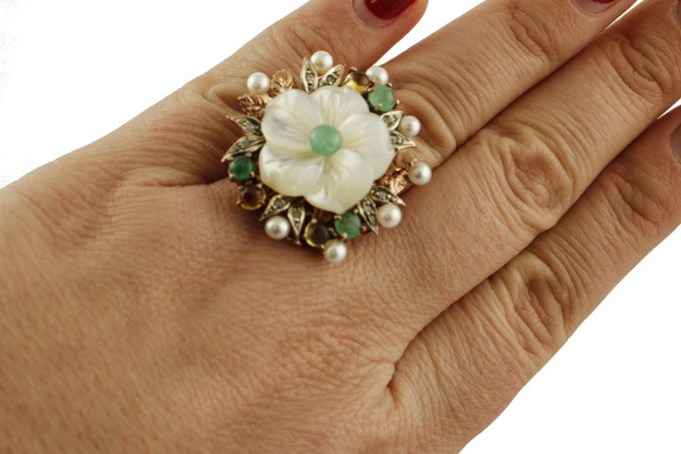 Women's Diamonds Emeralds Sapphires Pearls Mother of Pearl Rose Gold and Silver Ring For Sale