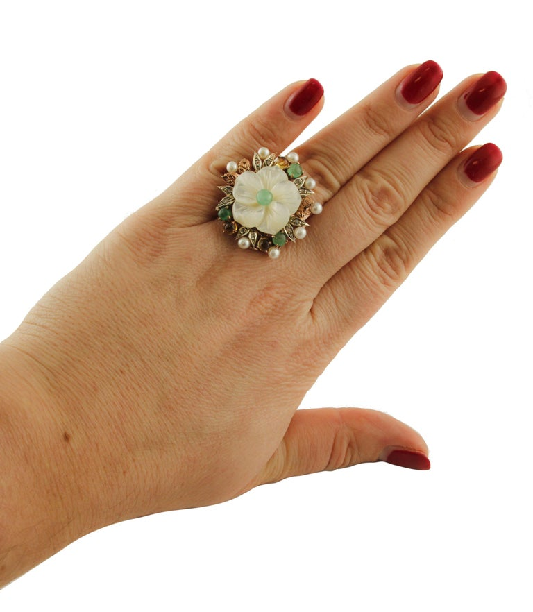 Diamonds Emeralds Sapphires Pearls Mother of Pearl Rose Gold and Silver Ring For Sale 1