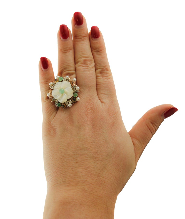 Diamonds Emeralds Sapphires Pearls Mother of Pearl Rose Gold and Silver Ring For Sale 2