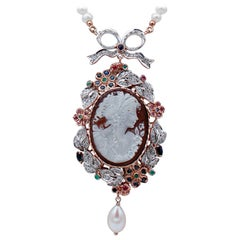 Diamonds Emeralds Sapphires Rubies, Pearls, Cameo, 14kt Gold and Silver Necklace