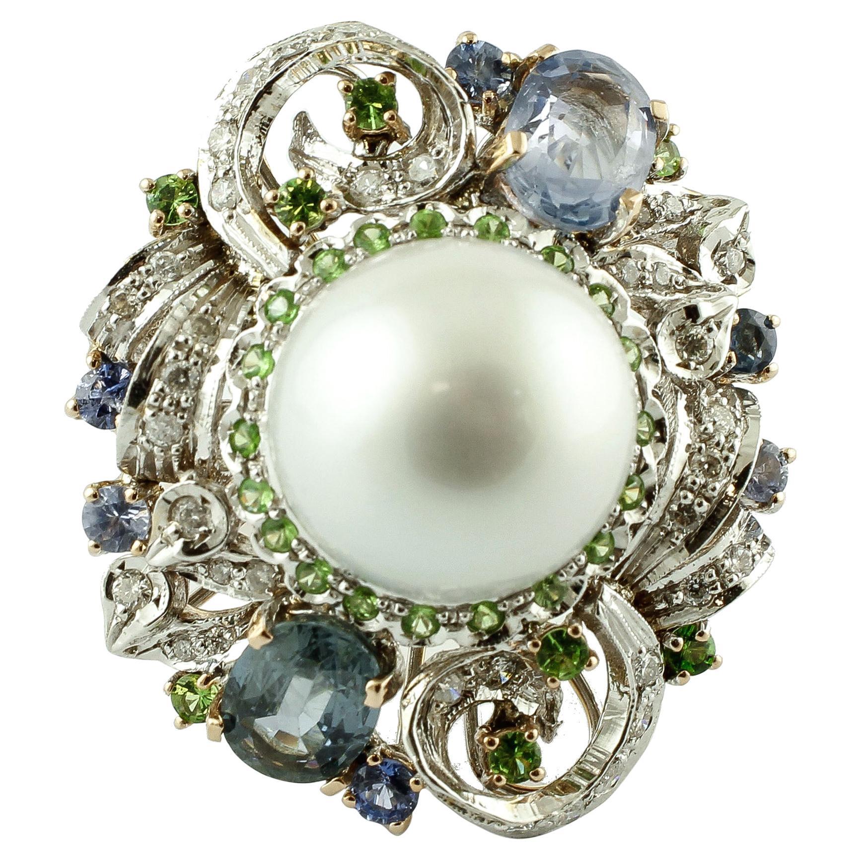 Diamonds, Emeralds, Sapphires, South Sea Pearl, 14 Karat Gold Cocktail Ring