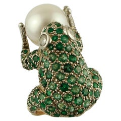 Diamonds, Emeralds, South Sea Pearl, 14 Karat Rose Gold and Silver Frog Ring