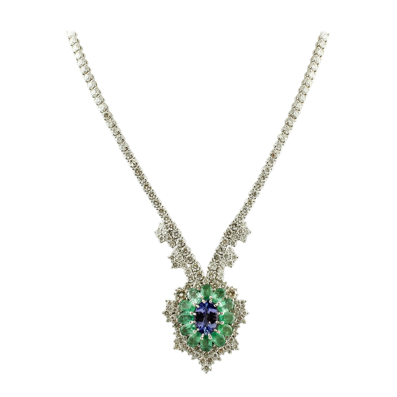 Diamonds, Emeralds, Tanzanite, 14 Karat White Gold Pendant Necklace