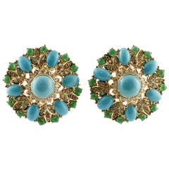 Diamonds, Emeralds, Turquoise, 14 Karat Rose Gold Clip-On Vintage/Retrò Earrings