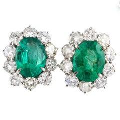 Diamonds Emeralds White Gold Clip-on Earrings