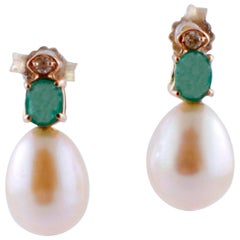 Diamonds, Emeralds, White Pearls, Rose Gold Beaded Drop Earrings
