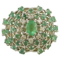 Diamonds Emeralds White Stones White Gold Band Flower Theme Ring