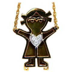 Diamonds Emoji Necklace 14 Karat Yellow Gold