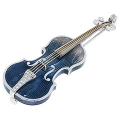 Diamonds Enamel 18 Karat White Gold Blue Violin Brooch