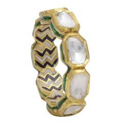 Diamonds Eternity Ring Handcrafted in 18 Karat Gold with Enamel Work
