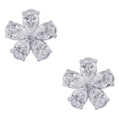 Diamonds Flowers Stud Earrings