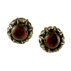 Diamonds, Garnets, 9 Karat Rose Gold and Silver Stud Earrings