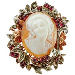 Diamonds, Garnets, Cameo, 9 Karat Rose Gold and Silver Retrò Cocktail Ring