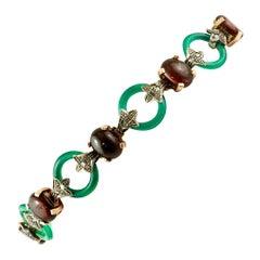 Diamonds, Garnets, Hard Stones, 9 Karat Rose Gold and Silver Retro Bracelet