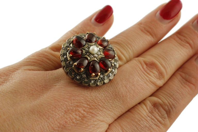 Women's Diamonds, Garnets, Little Pearl Rose Gold and Silver Cocktail Ring For Sale