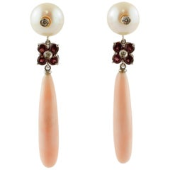 Diamonds, Garnets, Pearls Pink Coral Drops 14 Karat White and Rose Gold Earrings