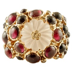 Diamonds, Garnets, Rock Crystal 14 Karat Yellow Gold Ring