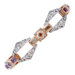 Diamonds, Garnets, Topazs, Peridots, Amethysts, Diamonds, 14Kt Gold Bracelet