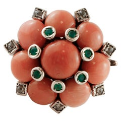 Diamonds, Green Agate, Coral, Rose Gold and Silver Flower Design Retrò Ring