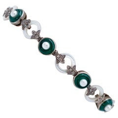 Diamonds, Green Agate, Pearls, White Stones, 9kt Rose Gold and Silver Bracelet