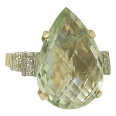 Diamonds Green Amethyst Drop Rose and White Gold Fashion Ring