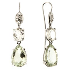 Diamonds Green Amethyst Rock Crystal White Gold Earrings Handcrafted in Italy