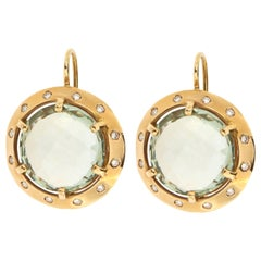 Diamonds Green Amethyst Rose Gold Dangle Earrings Handcrafted in Italy