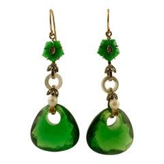 Diamonds, Green Hard Stone, Yellow Topaz 9 Karat Gold and Silver Dangle Earrings