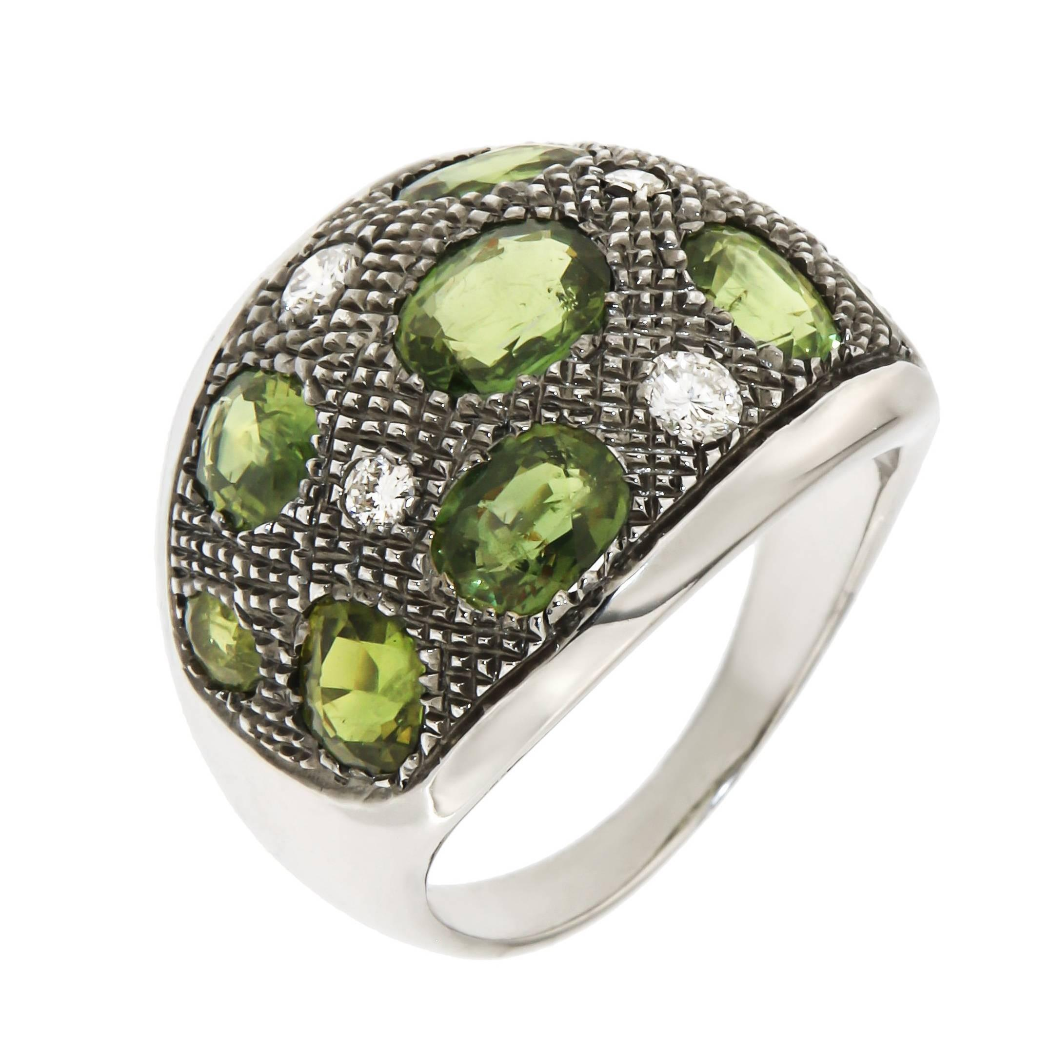 Diamonds Green Sapphires 18 Karat White Gold Cocktail Ring Handcrafted in Italy