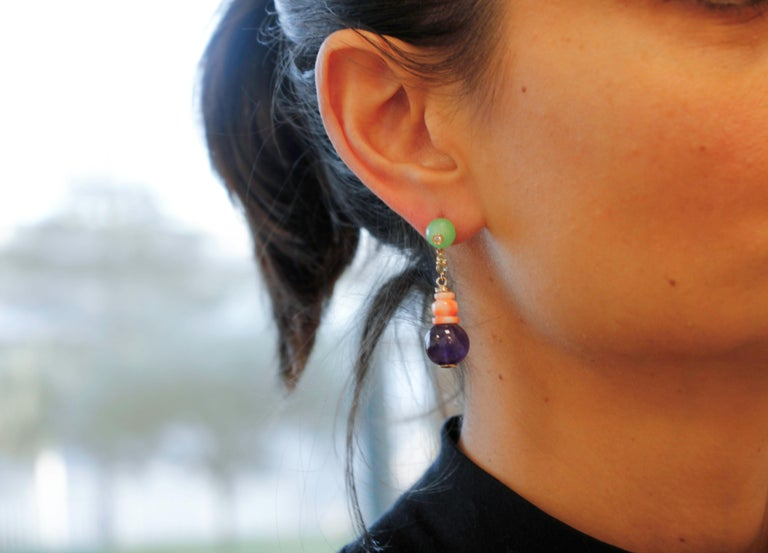 Women's Diamonds, Green Sapphires, Amethysts, Green Agate, Coral, Rose Gold Earrings For Sale