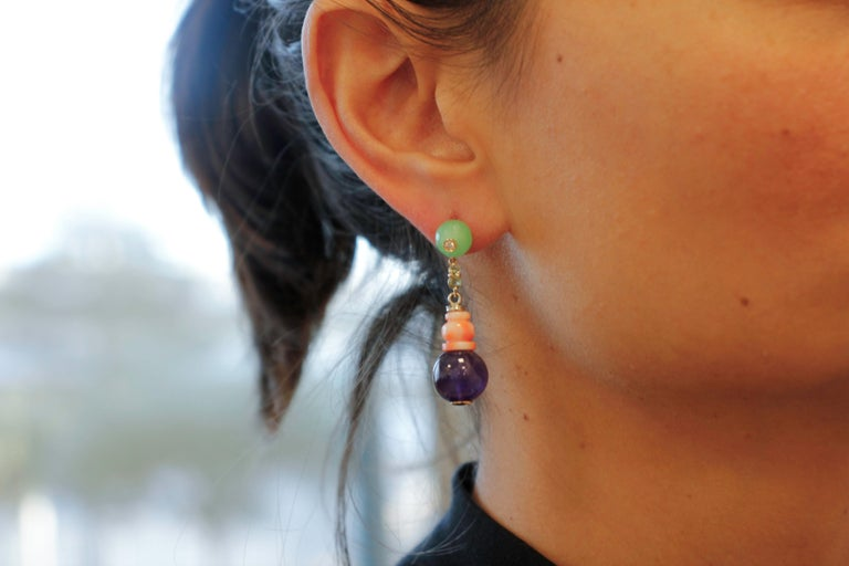 Diamonds, Green Sapphires, Amethysts, Green Agate, Coral, Rose Gold Earrings For Sale 1