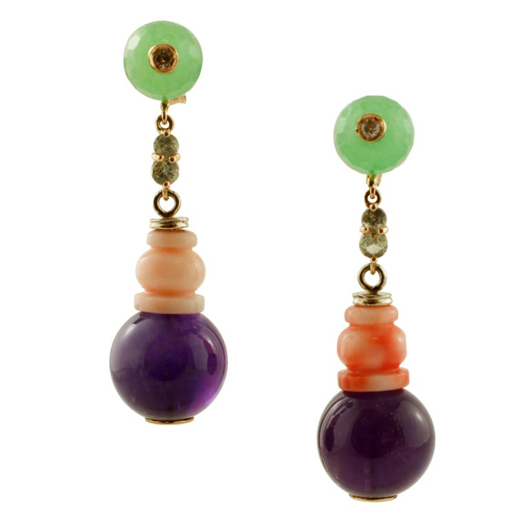 Diamonds, Green Sapphires, Amethysts, Green Agate, Coral, Rose Gold Earrings For Sale