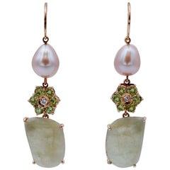 Diamonds, Green Sapphires, Peridots, Pearl, 14 Karat Rose Gold Dangle Earrings