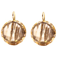 Diamonds Grey Topaz Rose Gold Dangle Earrings Handcrafted in Italy