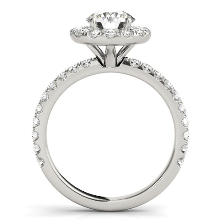 Round Cut Diamonds Halo Style Accented GIA Certified Round Brilliant Cut Engagement Ring For Sale